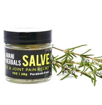 A 10 oz jar of Salve Muscle & Joint Pain Relief