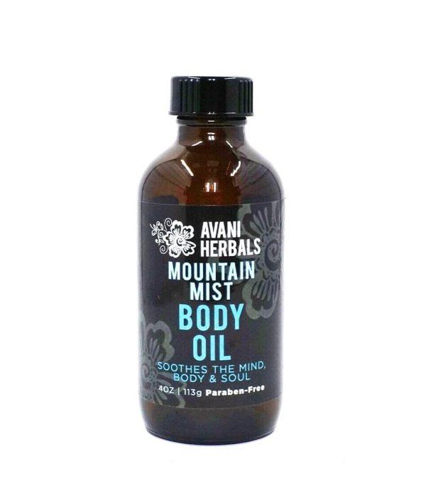 Bottle of Avani Herbal Mountain Mist Body Oil, 4 oz